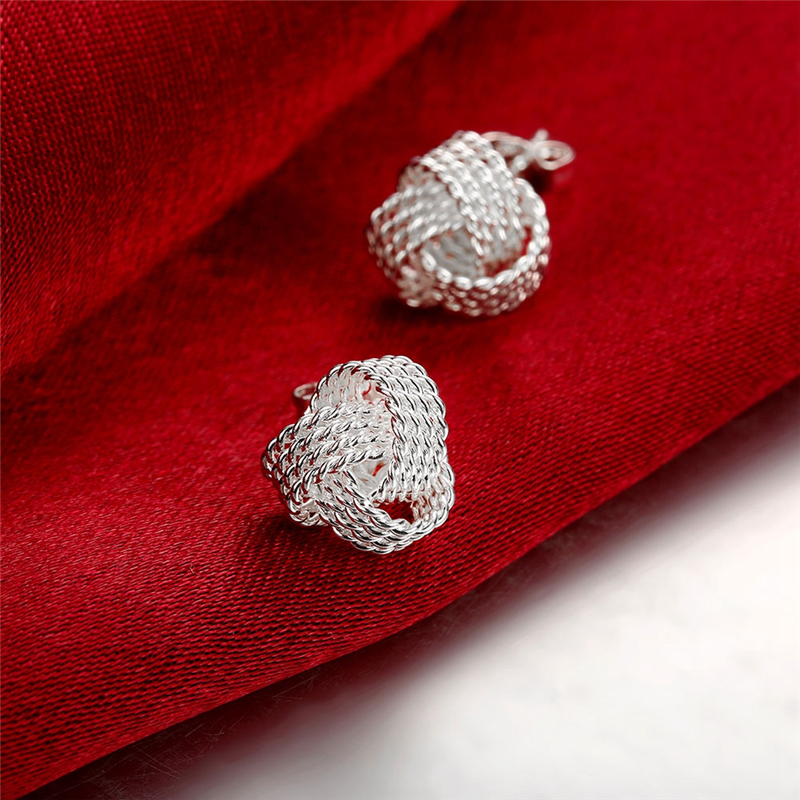 DOTEFFIL 100% Real 925 Sterling Silver Elegant Soft Winding Stud Earrings for Women Wedding Engagement Jewelry