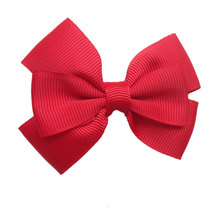 12pcs/pack Double Layered Ribbon Bows with Clips,Solid Hair Bows for Girls,Pink Red Green Navy Peach White etc