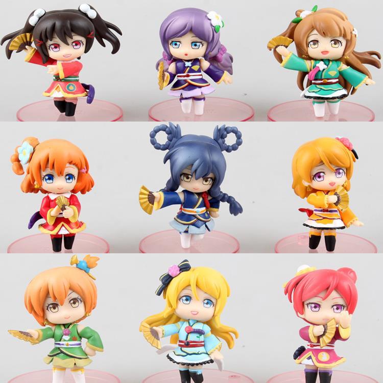 Anime Love Live ! School Idol Project Q Version PVC Action Figures Collectible Model Toys Dolls 9pcs/set KT1809<br>