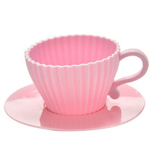 CHENGLAN 1Set Muffin Baking Mould Silicone Cupcake Cups Cake Mold Chocolate Tea Cup Case Mold with Saucers White Pink