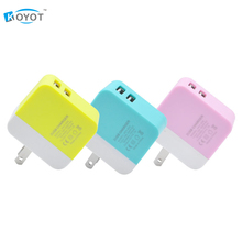 Universal 5V 2.1A Dual USB Colorful Folding Charger Travel Adapter Portable US Plug Mobile Phone MP3 Charger(China)