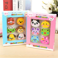 6pcs/pack Creative Lovely Design Mini Erasers Students And Children Small Prizes Stationery Erasers