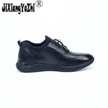 JIXIANGYAZHI Brand 2017 British style full leather men's shoes black round lace men's sports shoes # N-032(China)