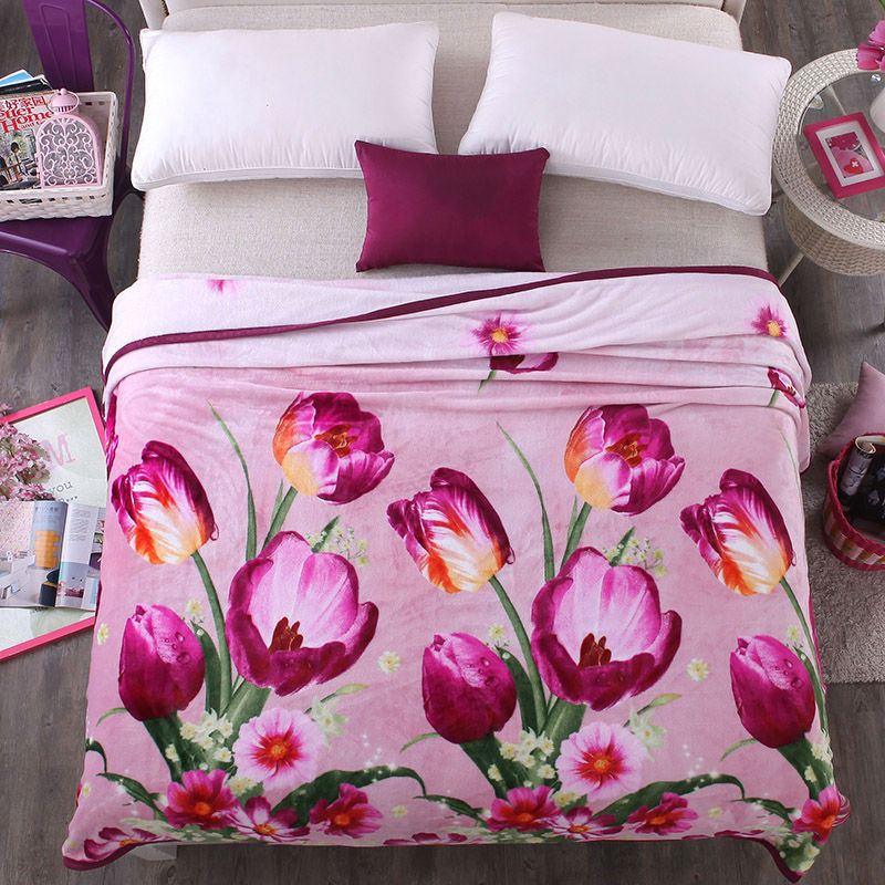 Papa&amp;Mima elegant purple tulips print summer throw blankets coral fleece plaids multisize bedsheet multifunctional bedspread<br>