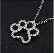 hot sale Dog Paw Black with White Crystal Rhinestone Pendant Necklaces Jewelry Vintage Rhodium Plated for women best gifts
