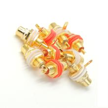 100 pcs Gold Plated RCA Female Jack Panel Mount Chassis Socket Red + white connector