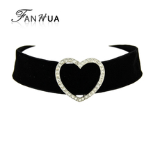 FANHUA Gothic Jewelry Court Style Black Velvet Choker Necklace with Heart Decoration Statement Necklace for Women Accessories(China)
