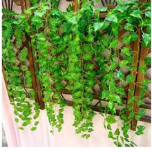 230cm / 7.5 ft Long Artificial Plants Green Ivy Leaves Artificial Grape Vine Fake Foliage Leaves Home Wedding Decoration(China)