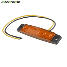 Onever 10Pcs 12V 24V 6LED Side Marker Indicators Lights Lamp For Car Truck Trailer Lorry 6 LED Amber Bus Light