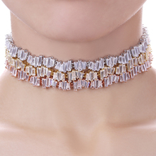 Fashion AAA+ Zirconia Choker Rose Gold Color Adjustable Baguette Necklace Women Steampunk Chokers 2016 Punk Chain WN010