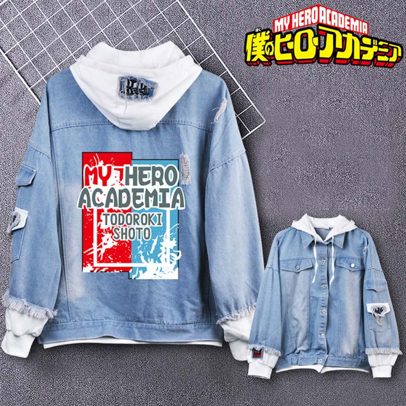 Coshome Boku No My Hero Academia Midoriya Shoto Todoroki Cosplay Hoodies Costumes Men Women Denim Jacket (8)