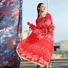 Fairy Dress 2016 Early Autumn Print Red Long Lantern Sleeve Elegant Bohemian Style Mid-Calf Lacing Topshop Vestido Dress