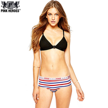 Buy Pink Heroes 4pcs/lot New Cotton Printing Couple Women's Underwear Manufacturers Dots stripes Triangle Panties Women Cotton
