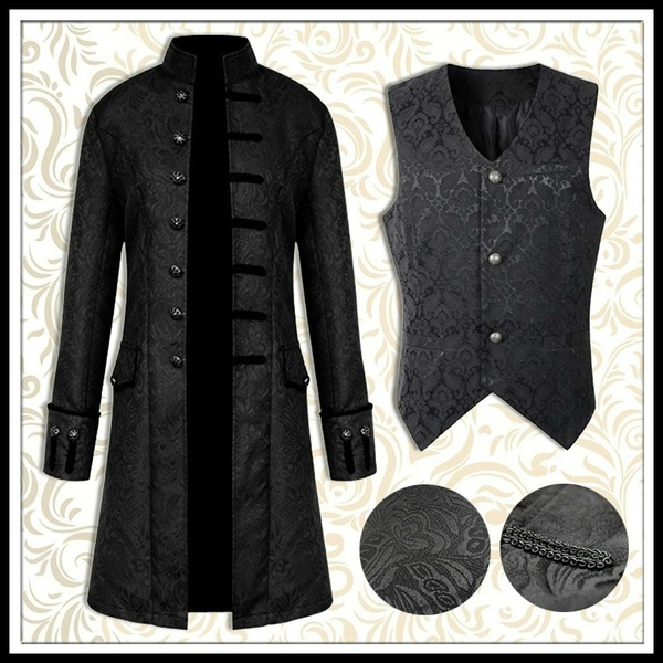 Mens Steampunk Vintage Tailcoat Jacket Formal Gothic Victorian Frock Coat Halloween Costume