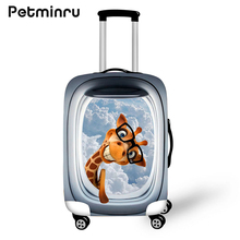 Petminru Cartoon Cute Animal Aircraft Window Suitcase Protective Waterproof Covers For 18-28 Inch Travel Case Travel Accessories