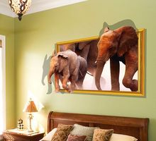 2017 Cute Elephants Animal Removable 3D Visual DIY Wall Stickers Home Decor Bedroom Living Room Decal Vinyl Mural Wall Stickers(China)