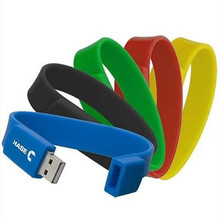 Custom DIY logo full colours silicone bracelet usb 2.0 memory stick 4GB 8GB 16GB 32GB pen drive unique gift (30pcs free logo)