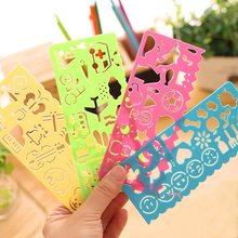 New 4 color 4 different types Stationery Children Painting Drawing Template Rulers Lovely Ruler Gift For Kids School Supplies(China)