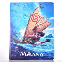 Tablet Shell Cases for Apple ipad 6 air 2 Carton fashional MOANA movie prints PU leather protective Cover stand coque para capa