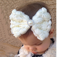 TWDVS Kids Newborn Big Bow knot Flower Hair Band Girls Kids Elastic Flower Hair Accessories Pearl Flower Headband W088