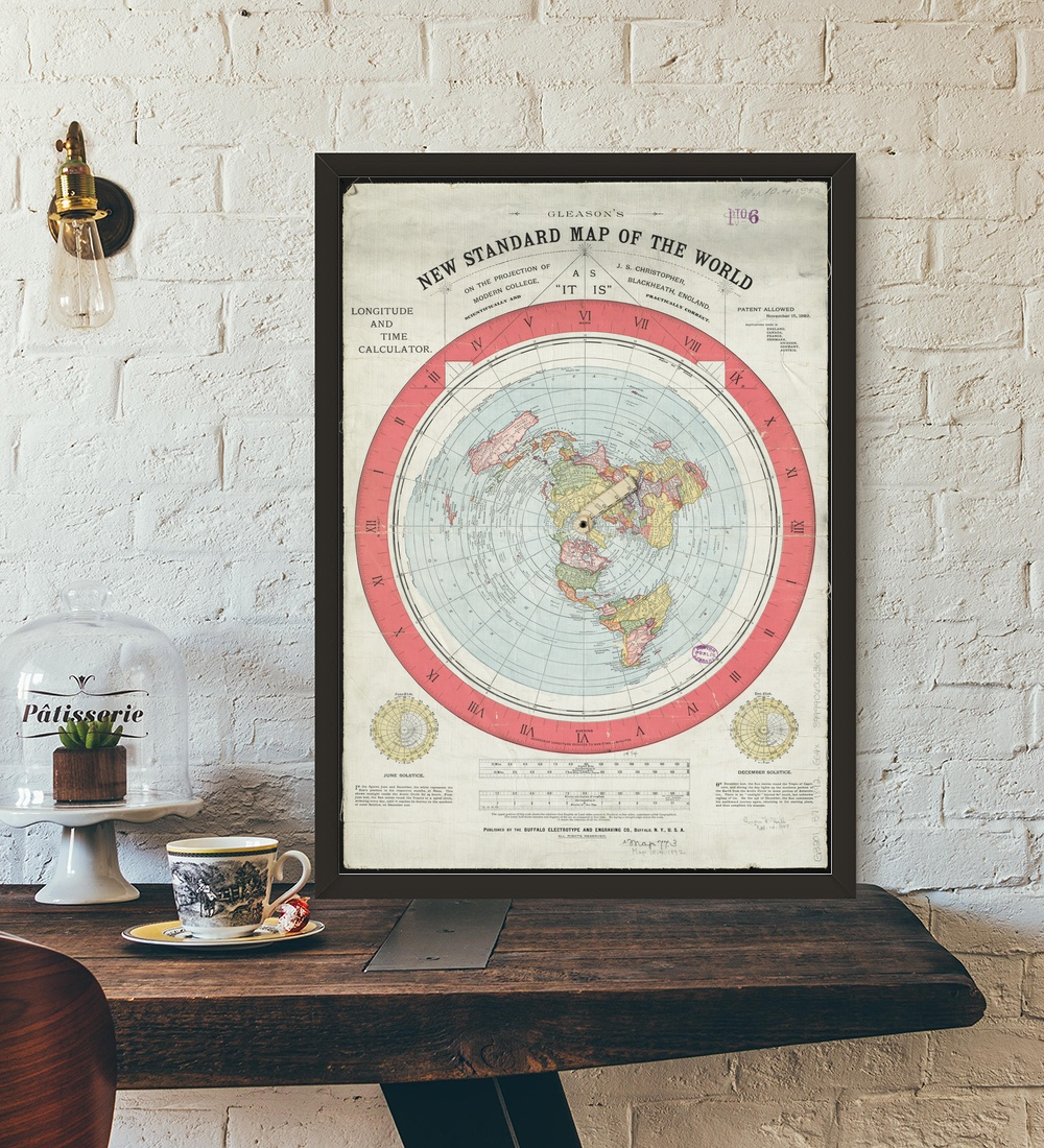 1892 Flat Earth Map Movie Wall Art Paint Wall Art Canvas Paintings Poster  No Framed