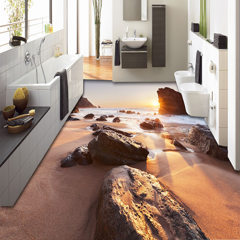 Custom 3D Poster Photo Wallpaper Sunset Beach Landscape Living Room Bedroom Bathroom Floor Painting Wall Murals Decor Wallpaper<br><br>Aliexpress