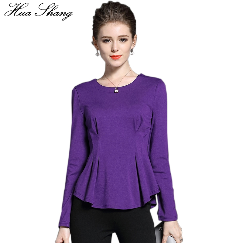 2017 Autumn Fashion Women Long Sleeve Blouse O Neck Slim Peplum Pleated Tunic Women Tops Plus Size Women Clothing Office Shirt