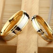 Buy Couple Ring Gold-Color Jewelry Women Man Titanium Steel Lover Ring Stainless Steel Wedding Bands for $1.52 in AliExpress store