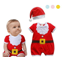 XH-047 2017 Christmas gift baby romper Santa Claus clothes newborn baby clothes red jumpsuit + hat bebe new year baby clothes(China)