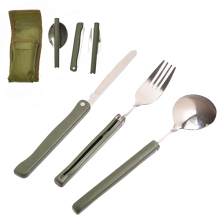 3 Pcs Portable Camping Multifunction Folding Stainless Steel Fork Spoon Knife Cutlery Set