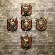 The Middle Ages Creative Retro Crown Ghost Lion Armor Shield With Sword Iron Art Painting Plaque Wall Decor Metal Ornament