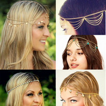 New Hot Beach Multi Layer Metal Gold Color Head Chain Hair Jewelry Tassel Pearl Leaves Bindi Hair Accesories Bohemian Headband(China)