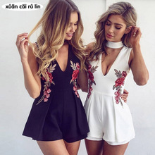 Buy 2018 summer Elegant Floral Embroidery Bodysuit Women's Halter Back Zipper sleeveless Jumpsuit Tops Sexy V-neck Rompers Playsuits