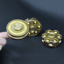 10pcs New Hand Spinner Revolver Bullet Clip Spinner Can Rotate 8 Mins Fidget Spinner Anti Stress Metal Material Gold Finger Toy(China)