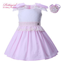 Pettigirl Girls Pink Dress Handmade Big Bow Boutique Lace Dresses Children Pageant Summer Clothes with Headband G-DMGD004-B11(China)