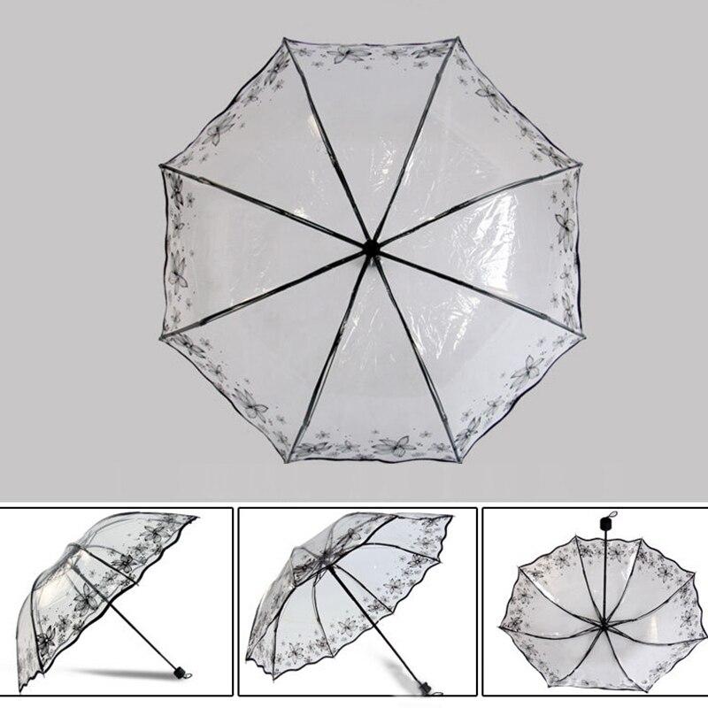 مظلة شفافة قابلة للطي للنساء 5
