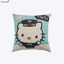 Keythemelife 45*45cm Household Pillowcase Linen Fabric Cushion Cover Hello Kitty Home Office Sofa Decor Throw Pillow Cover  2C