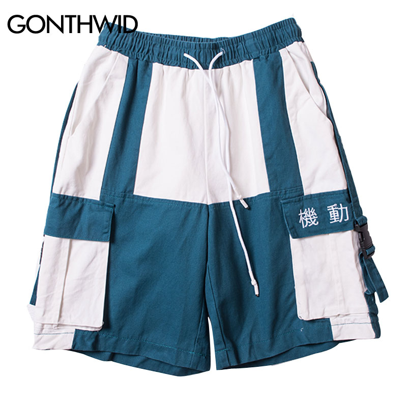 GONTHWID Side Buckle Ribbon Casual Cargo Shorts Men Summer Hip Hop Multi Pockets Color Block Patchwork Shorts Male Streetwear
