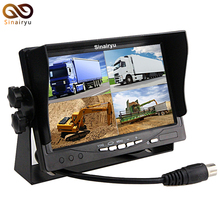 "CCTV DC12V~24V 7"" LCD Car Parking Monitor With 4CH Video input Quad Split Screen For Bus Truck Caravan Vans Video Monitors"