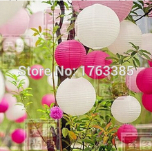 18-Pack White Pink Hot Pink Paper Lantern Lampshades for Wedding Birthday Bridal Shower Party Decoration