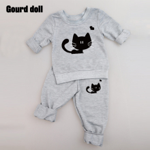 Gourd doll 2017 New baby girl clothing set long sleeve cat fashion T-shirt+pants 2pcs/suit outfits newborn baby boy girl clothes(China)