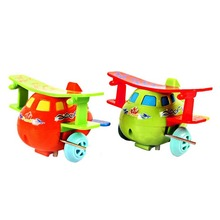 Hot Kids Airplane Model Lovely Plastic Wind-up Toy Fashion Classic Toys Color Random for Children Running Clockwork Spring Toy(China)
