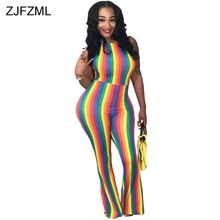 Buy ZJFZML Rainbow Vertical Striped Sexy Sling Romper Women Halter Shoulder Sleeveless Overall Summer Backless Flare Jumpsuit