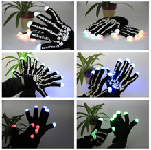 12pcs=6pairs/lot New Style LED Gloves Fingers Light Gloves Halloween Dark Party Decoration Gloves With Bulbs Dancing Supplies