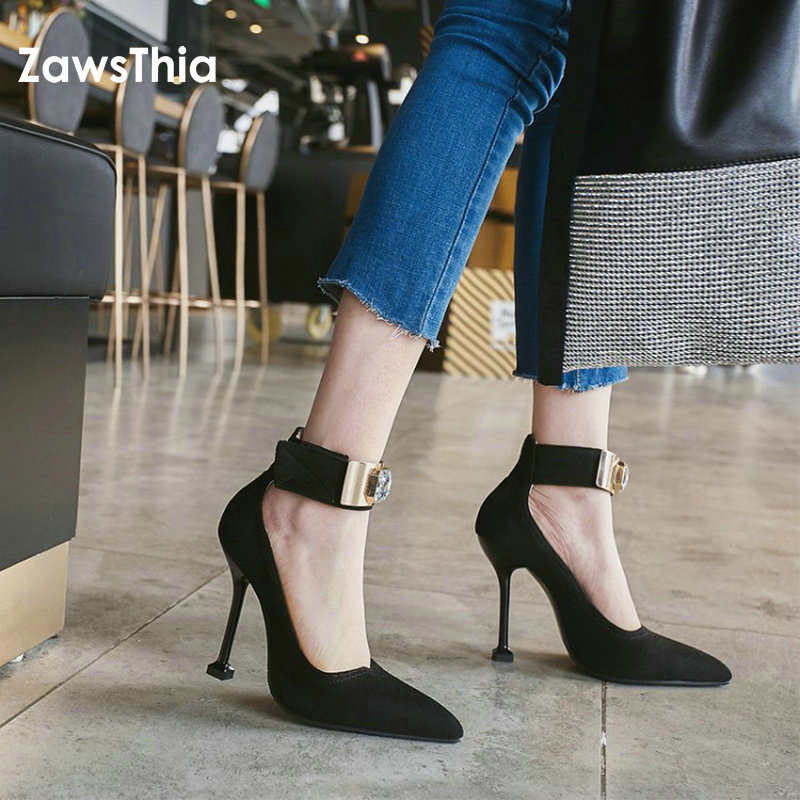ZawsThia 2018 new pointed toe super high heels sexy woman shoes with crystal ankle buckle party club women pumps stiletto shoes<br>