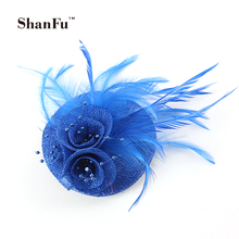 ShanFu Lady Pillbox Bead Feather Fascinator Blue Hair Accessories Vintage Decorative Hair Clip for Wedding/Tea Party SFB6670
