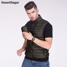 SMARTSUGAR 2017 New Men Ultralight White Duck Down Jacket Vests Men Solid Thin Lightweight Down Jacket Coats Sleeveless Men Vest(China)