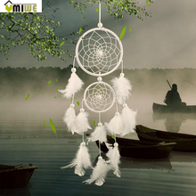Umiwe White Dreamcatcher Gift Handmade Dream Catcher Net With Feathers Wall Hanging Decoration Ornament For Wedding Festival(China)