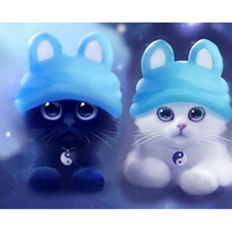 Diy Diamond Painting Cross Stitch Cartoon Cat Diamond Embroidery White Black Cat Square Cute Children Painting Mosaic Picture