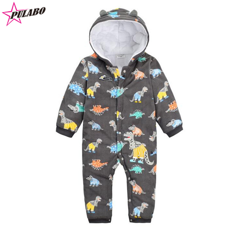 new brand Cartoon dinosaur Hooded Rompers Bebe fall winter warm Romper Baby Boy Girl Clothing roupa infantil jumpsuit<br><br>Aliexpress